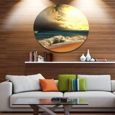 Designart Rushing Waves under Cloudy Sky SeashoreOversized Metal Circle Wall Art