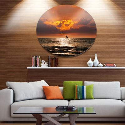 Designart Sunset Beach with Distant Sail Boat Seashore Oversized Metal Circle Wall Art