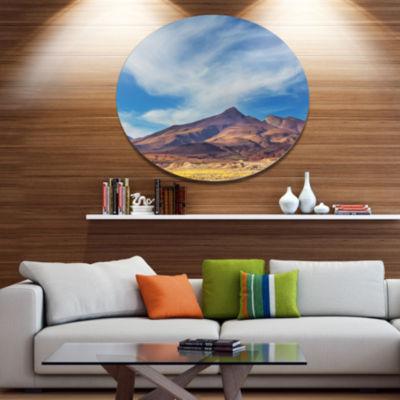 Designart Bright Argentina Mountain Region AfricanLandscape Oversized Metal Circle Wall Art