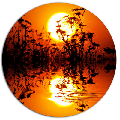 Designart Flowers Silhouette View At Sunset ExtraLarge Landscape Oversized Metal Circle Wall Art
