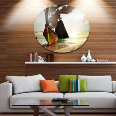 Designart Large Fishing Ship in andaman Seashore Oversized Metal Circle Wall Art