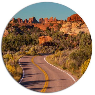 Designart Road in Rocky American Prairie LandscapeOversized Metal Circle Wall Art