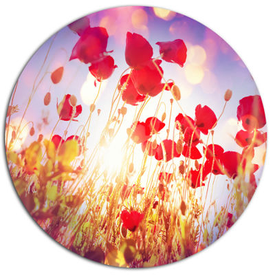Designart Poppy Flowers on Blue Background Large Flower Oversized Metal Circle Wall Art