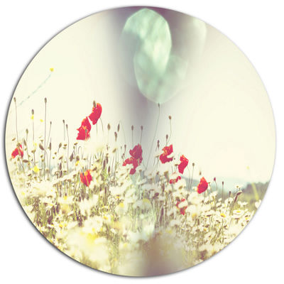 Designart Red and White Poppy Flowers Field LargeFlower Oversized Metal Circle Wall Art