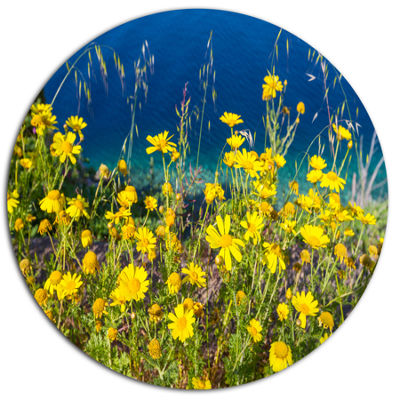 Designart Wild Yellow Flowers over Sea Coast LargeFlower Oversized Metal Circle Wall Art