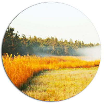 Designart Amazing Yellow Mountain Meadow Extra Large Landscape Oversized Metal Circle Wall Art