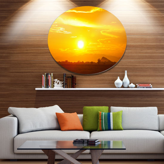 Designart Bright Yellow Sky At Sri Lanka Sunset African Landscape Oversized Metal Circle Wall Art