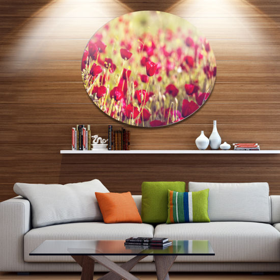Designart Fantastic View of Wild Poppy Flowers Large Flower Oversized Metal Circle Wall Art