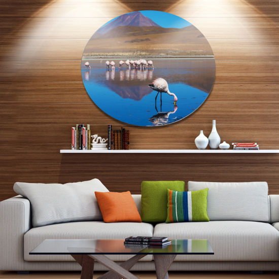 Designart Beautiful Flamingos in Bolivia African Landscape Oversized Metal Circle Wall Art