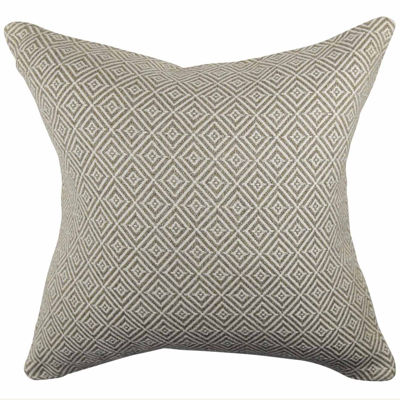 Tan Intricate Geometric Woven Throw Pillow