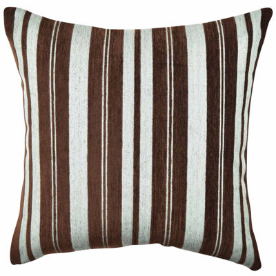 Vesper Lane Brown Stripes Soft Flocked Throw Pillow