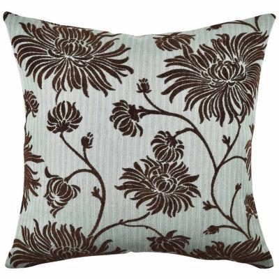 Vesper Lane Whimsical Floral Flocked Throw Pillow