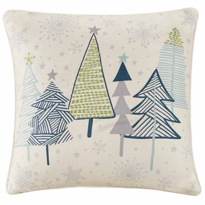 Madison Park Magical Winter Stroll Embroidered Square Throw Pillow