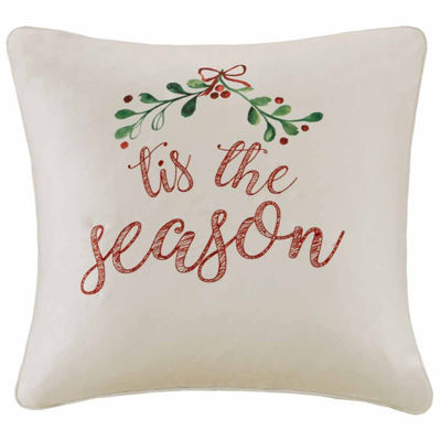 Madison Park Tis The Season Embroidered Square Throw Pillow