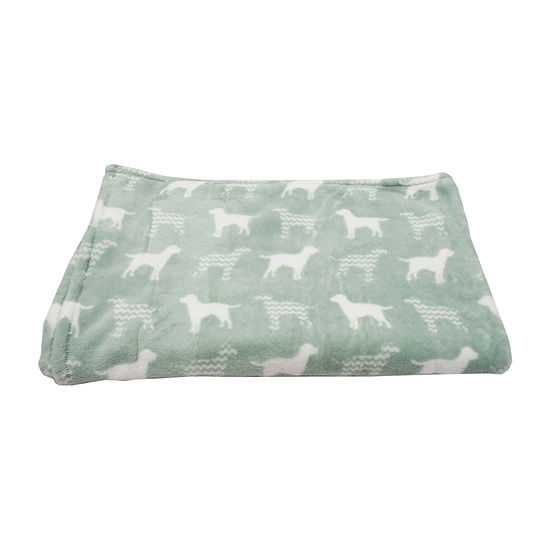 Dog Silhouette with Chevron Printed Flannel Fleece Pet Throw