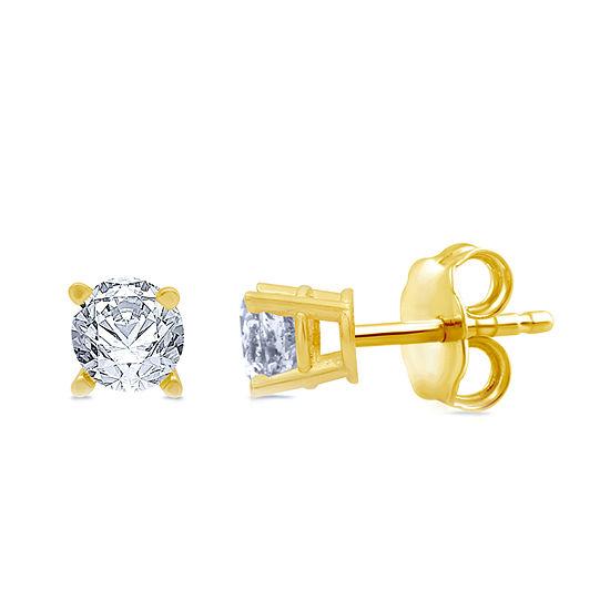 5/8 CT. T.W. Genuine White Diamond 10K Gold Stud Earrings