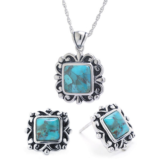 Enhanced Blue Turquoise Sterling Silver 2-pc. Jewelry Set