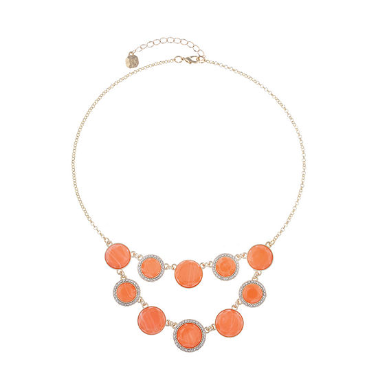 Monet Jewelry Womens Orange Collar Necklace