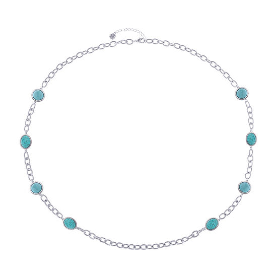 Monet Jewelry Blue 36 Inch Link Strand Necklace