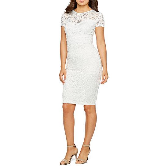 Premier Amour Short Sleeve Lace Sheath Dress