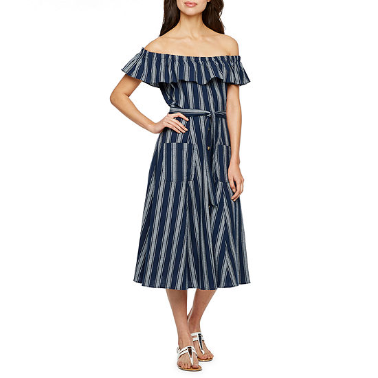 Vivi By Violet Weekend Off The Shoulder Striped Fit & Flare Dress