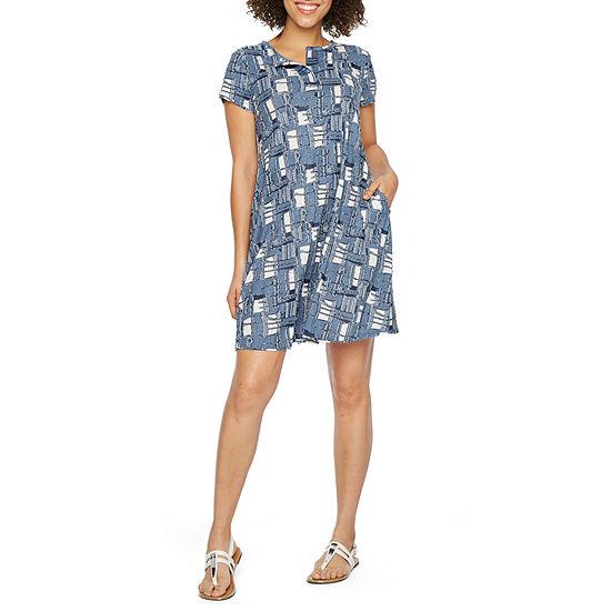 Vivi By Violet Weekend Short Sleeve Patchwork Shift Dress