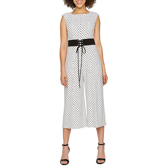 Danny & Nicole Sleeveless Polka Dot Belted Jumpsuit