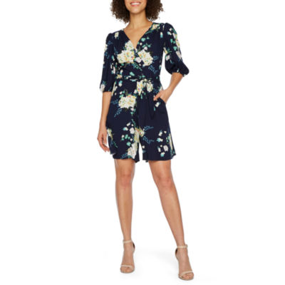 Danny & Nicole 3/4 Sleeve Belted Romper