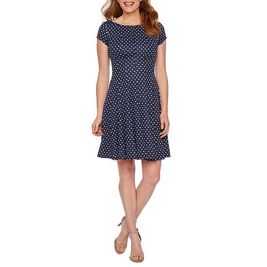 Danny & Nicole Short Sleeve Polka Dot Fit & Flare Dress