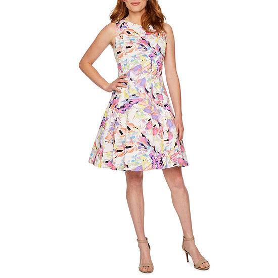 Ronni Nicole Sleeveless Abstract Fit Flare Dress