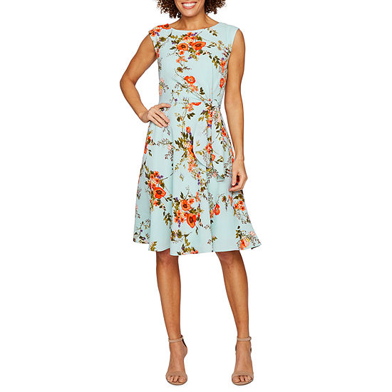 Chelsea Rose Sleeveless Floral Fit Flare Dress