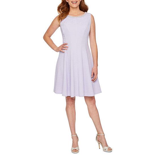 Studio 1 Sleeveless Embellished Jacquard Fit Flare Dress