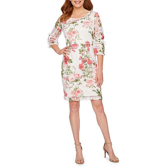 R & K Originals 3/4 Tie Sleeve Floral Lace Shift Dress