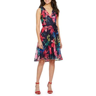 Danny & Nicole Sleeveless Floral Lace Wrap Dress