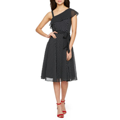 Danny & Nicole One Shoulder Dot Print Fit & Flare Dress