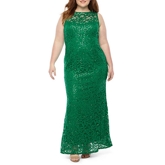 Blu Sage Sleeveless Sequin Lace Evening Gown-Plus