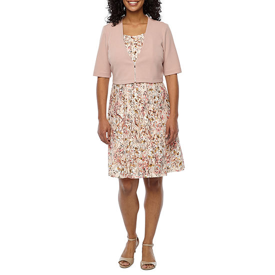 Perceptions Short Sleeve Lace Jacket Dress-Petite