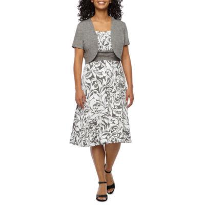 Perceptions Short Sleeve Paisley Puff Print Jacket Dress-Petite