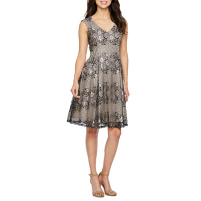 J Taylor Sleeveless Floral Lace Shift Dress
