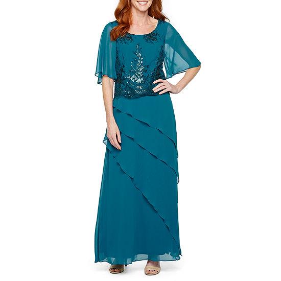 Maya Brooke Short Flutter Sleeve Embroidered Evening Gown
