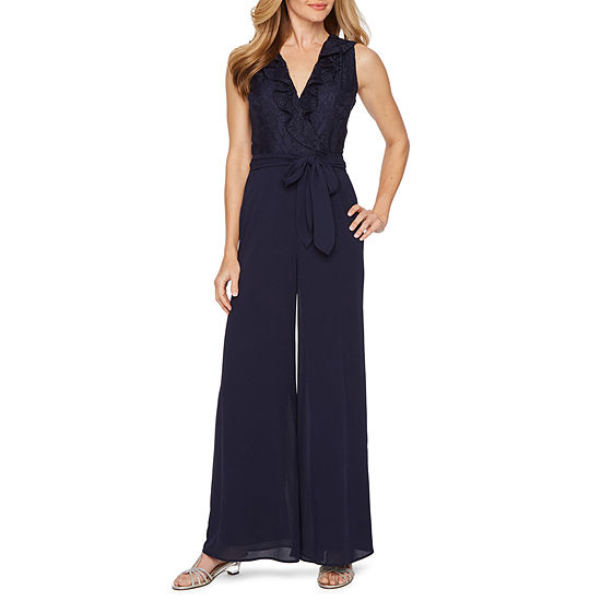 J Taylor Sleeveless Belted Jumpsuit