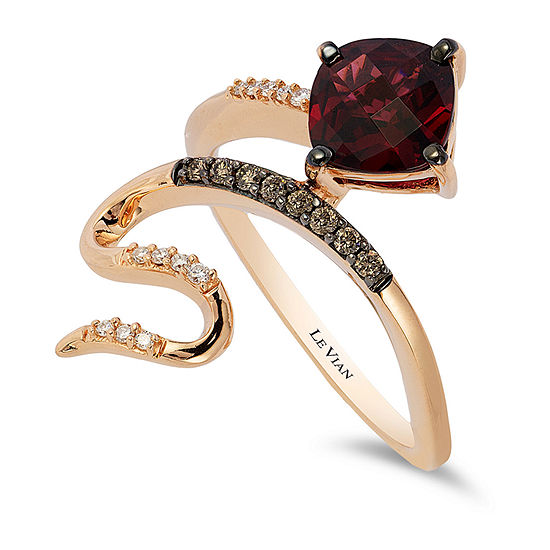 LIMITED QUANTITIES Le Vian Grand Sample Sale™ Ring featuring Raspberry Rhodolite®, Chocolate Diamonds®, Vanilla Diamonds® set in 14K Strawberry Gold®
