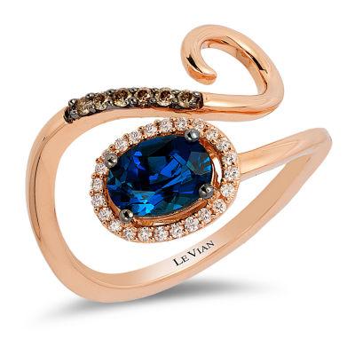 LIMITED QUANTITIES Le Vian Grand Sample Sale™ Deep Sea Blue Topaz™ and 1/7 CT. T.W. Vanilla Diamonds® & Chocolate Diamonds® Ring set in 14K Strawberry Gold®