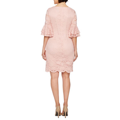 Liz Claiborne 3/4 Bell Sleeve Floral Lace Sheath Dress