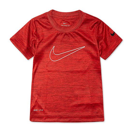 Nike Boys Crew Neck Short Sleeve Dri-Fit Graphic T-Shirt-Toddler