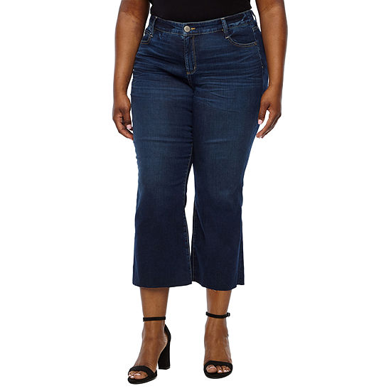 a.n.a Womens Mid Rise Flare Cropped Jean - Plus