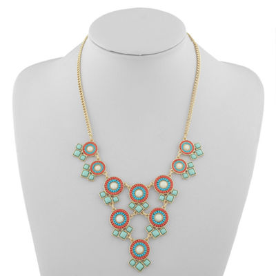 Liz Claiborne Womens Multi Color Statement Necklace