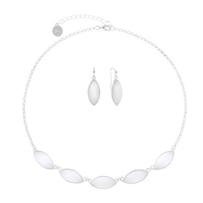 Liz Claiborne White Silver Tone 2-pc. Jewelry Set