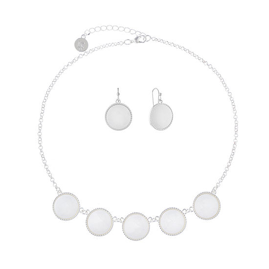 Liz Claiborne White Silver Tone 2-pc. Jewelry Set