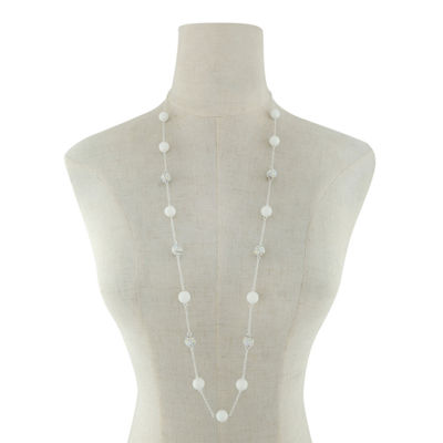 Liz Claiborne Womens White Strand Necklace